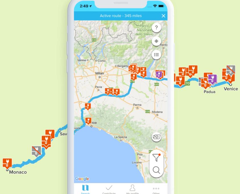 ChargeMap App - Elektrische Autovakanties