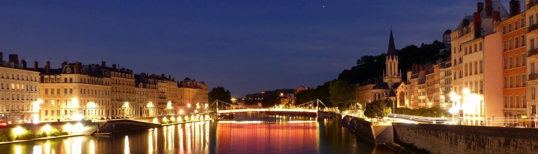 Lyon uitzicht 's avonds