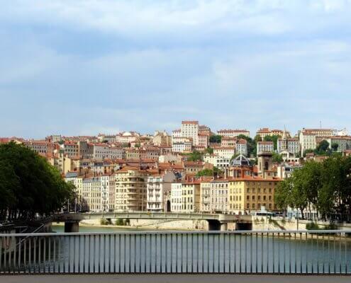 Lyon Frankrijk uitzicht vanaf rivier