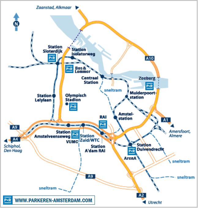 Elektrische Auto naar Amsterdam P+R locaties