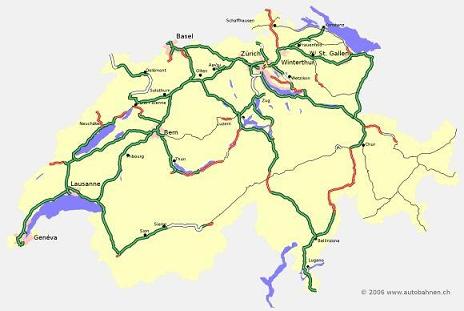 Kaart Tolwegen Zwitserland