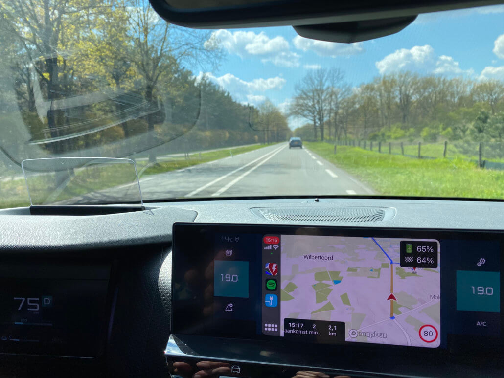 A Better Routeplanner (ABRP) display via Apple CarPlay in Citroën ë-C4