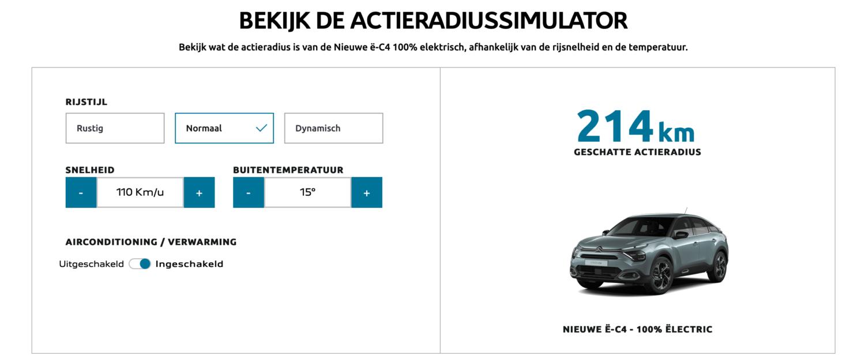 Actieradiussimulator voor de Citroën ë-C4