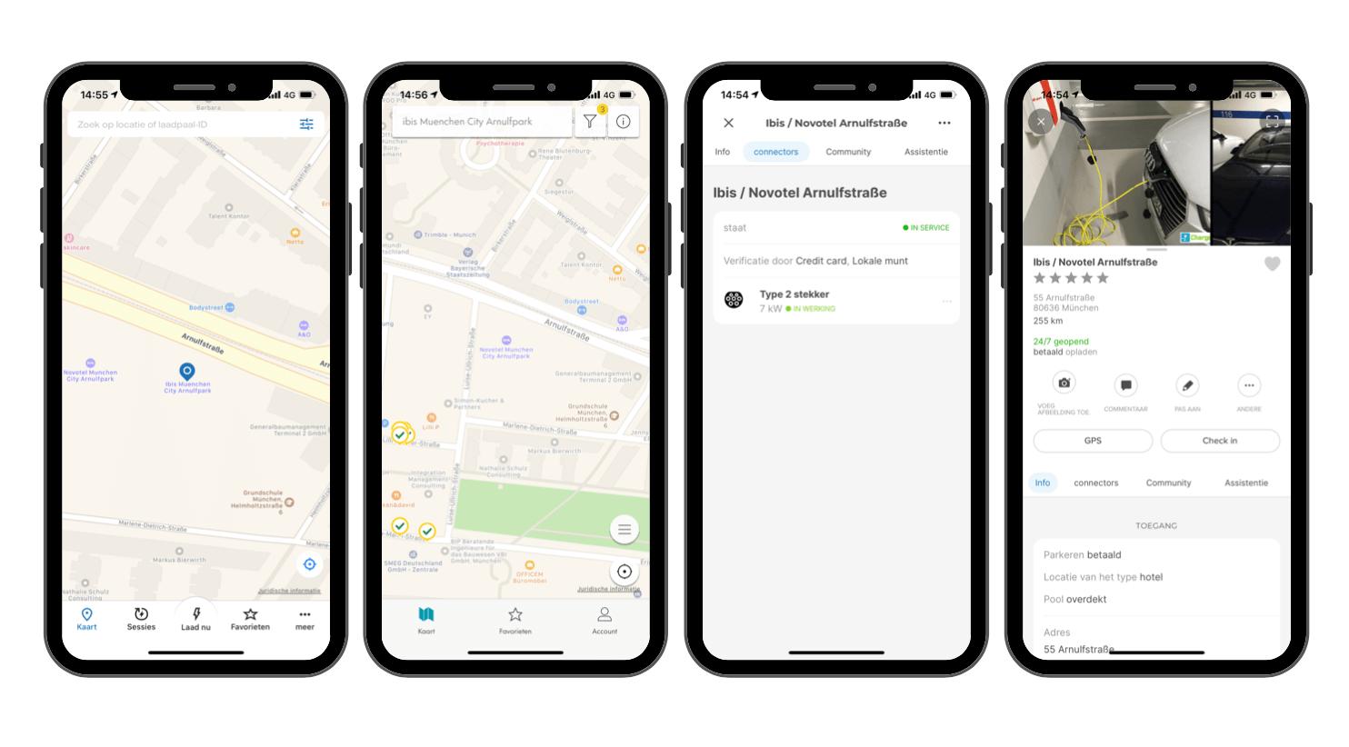 In Chargemap App zoeken wat voor laadpaal een hotel heeft