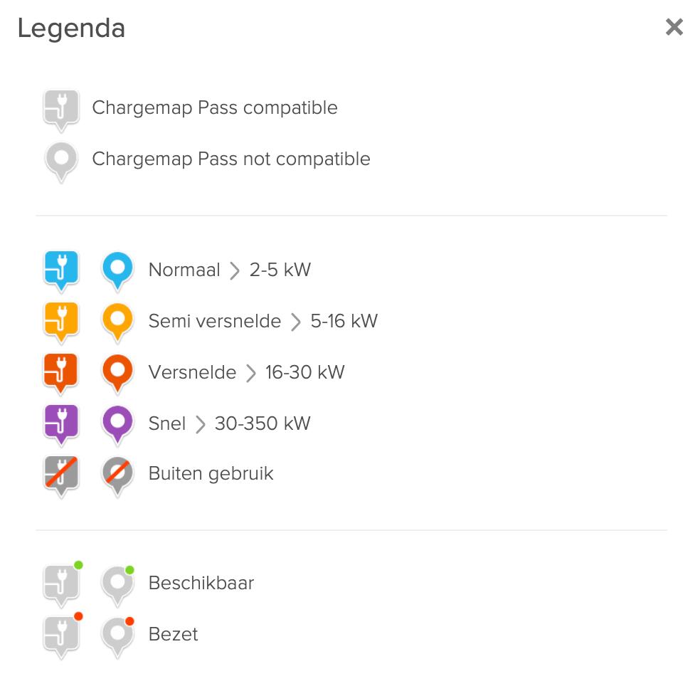 Chargemap legenda voor laadpalen